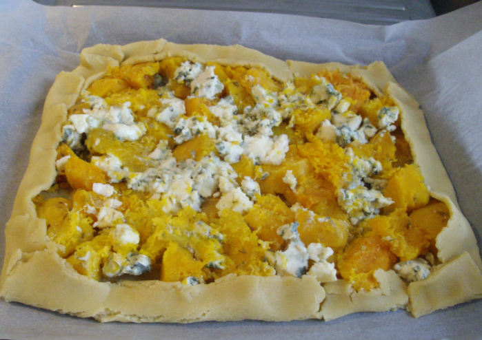 butternut and blue cheese tart pre-baking