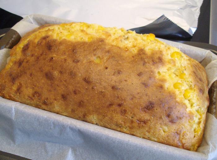 cheesy polenta cornbread baked