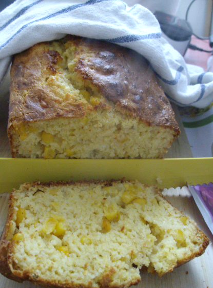 cheesy polenta cornbread sliced