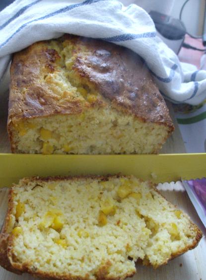 cheesy polenta cornbread sliced