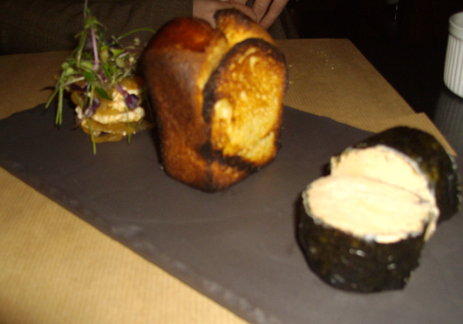 picture is blurry - but it was served with toasted brioche and some pickled onions....
