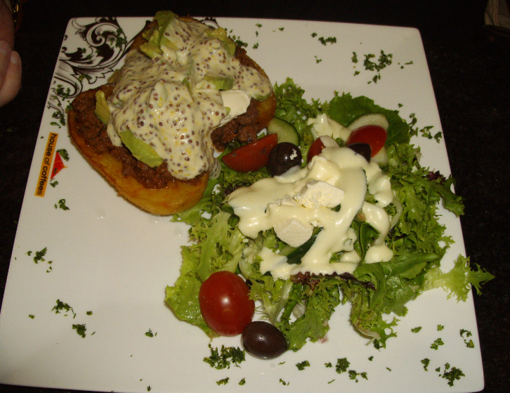 and Mustard Chicken salad (a bed of mixed lettuce, cucumber and tomato ...