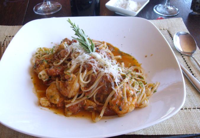 roca prawn and chicken pasta