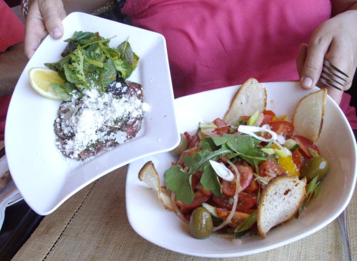 roca tomato salad and springbok carpaccio