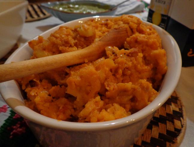 mash with chorizo