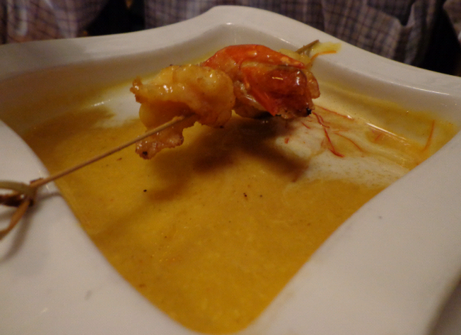 Curry chilli soup with a Prawn skewer - 4,90Euros