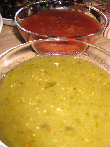 Salsa in the back and Tomatillo in the front