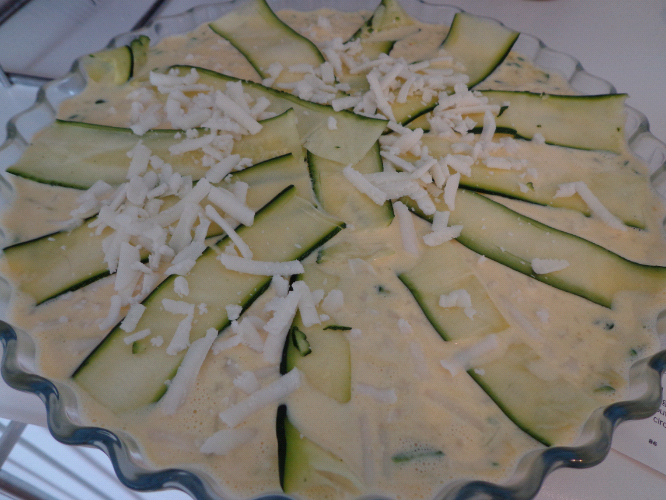 courgette quiche before oven