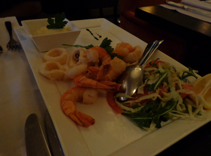 dolce tempura prawn and calarmari