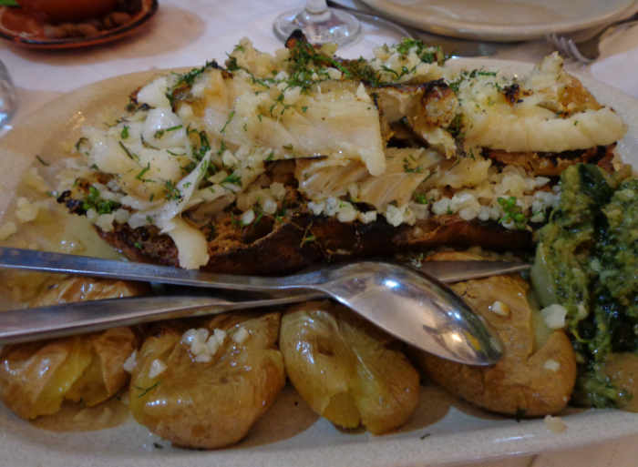 topped with bacalhau (cod)