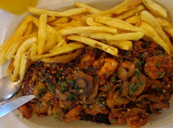 prawns, chilli, garlic and mushrooms