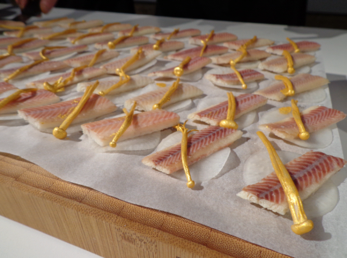 the little smoked eels...  topped with a gold mushroom