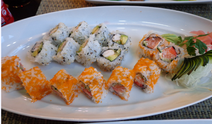 the orange covered california rolls had the salmon and strawberry - YUM