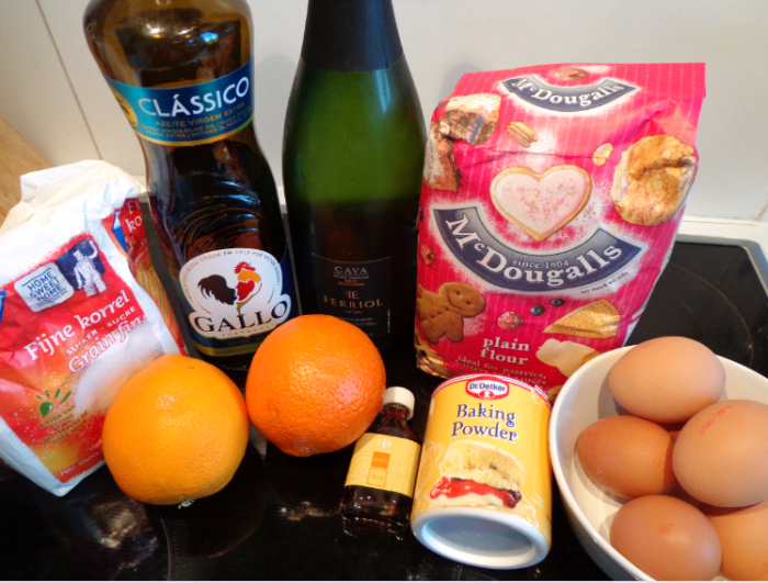 Prosecco and orange cake ingredients