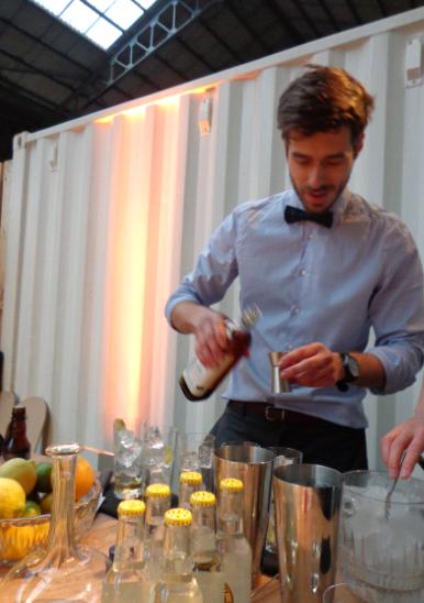 Hortense cocktail making