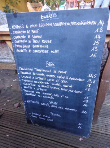 aglio e olio menu