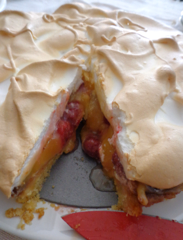 raspberry and lemon curd meringue tart cut