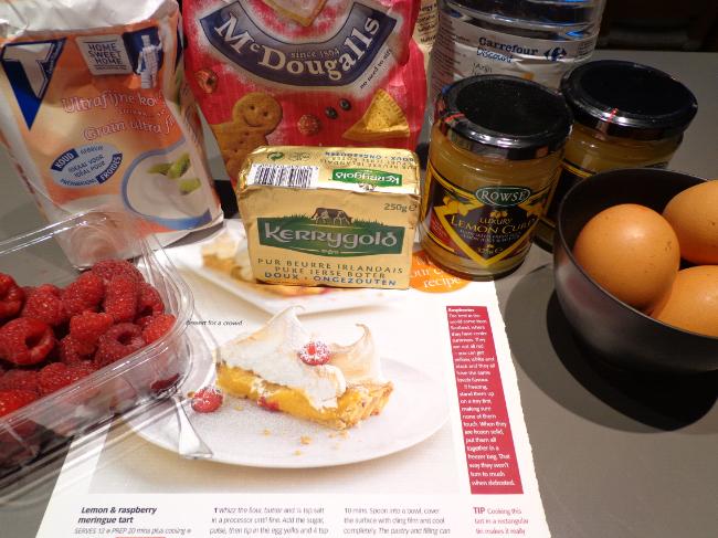 raspberry and lemon curd meringue tart