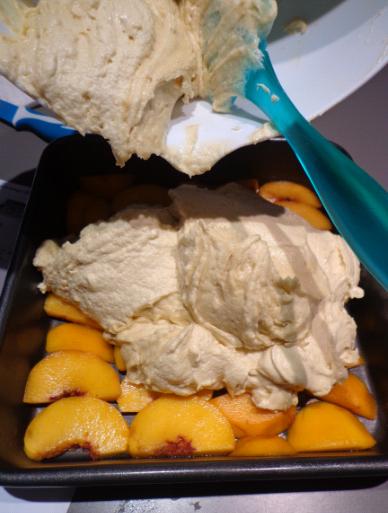 peach upside down cake pre oven