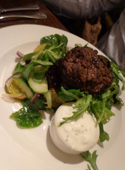 Salisbury arms minted skinny lamb burger