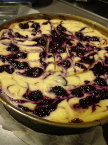 blueberry swirl cheesecake post oven