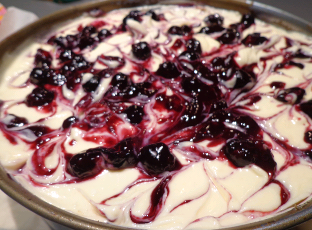 blueberry swirl cheesecake pre oven