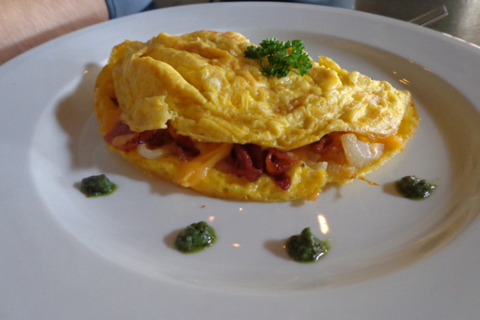 HIM's breakfast on Day 3: an omlette to feed a king