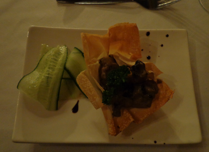 Night 2 starter: Sauteed and creamed mushrooms in a filo basket