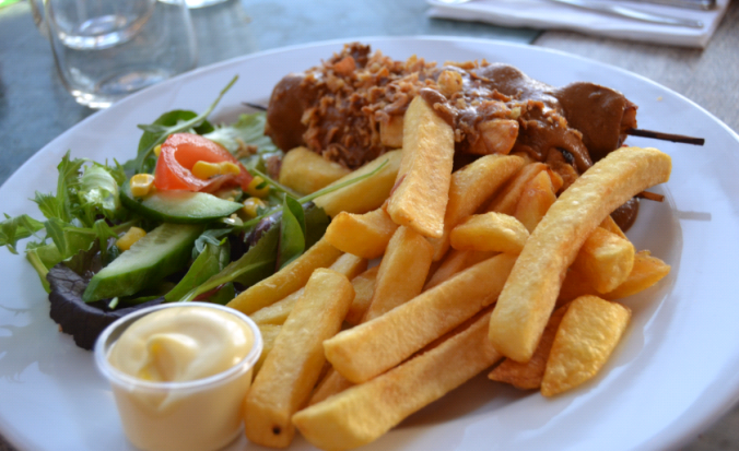 soif chicken satay and chips