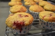 banana raspberry muffins post oven