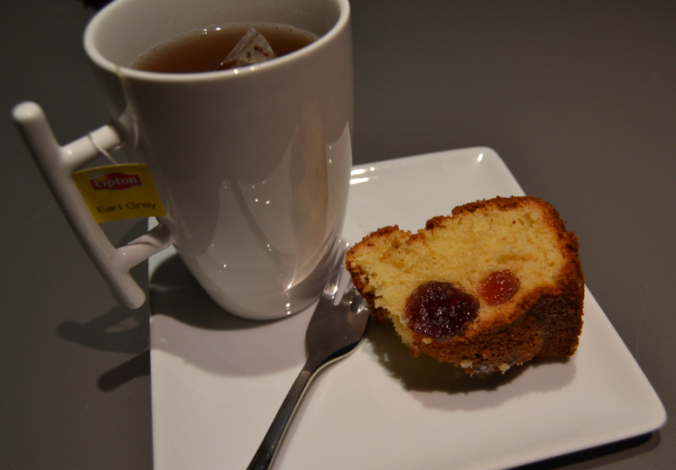 cherry madeira cake and tea