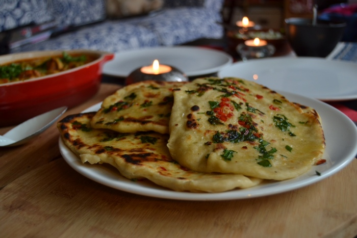 Homemade chilli & coriander naan bread